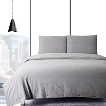 Bedsure Baumwolle Bettwäsche 135x200cm Grau Bettbezug Mit
