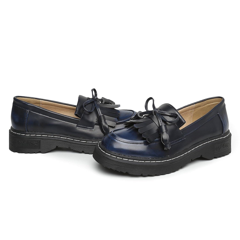 JRenok Chaussures de Ville Femme Confortable Mocassins a Enfiler Cuir  Sneakers Casual Mode Marcher Derbies Plateforme 265215e2aff5
