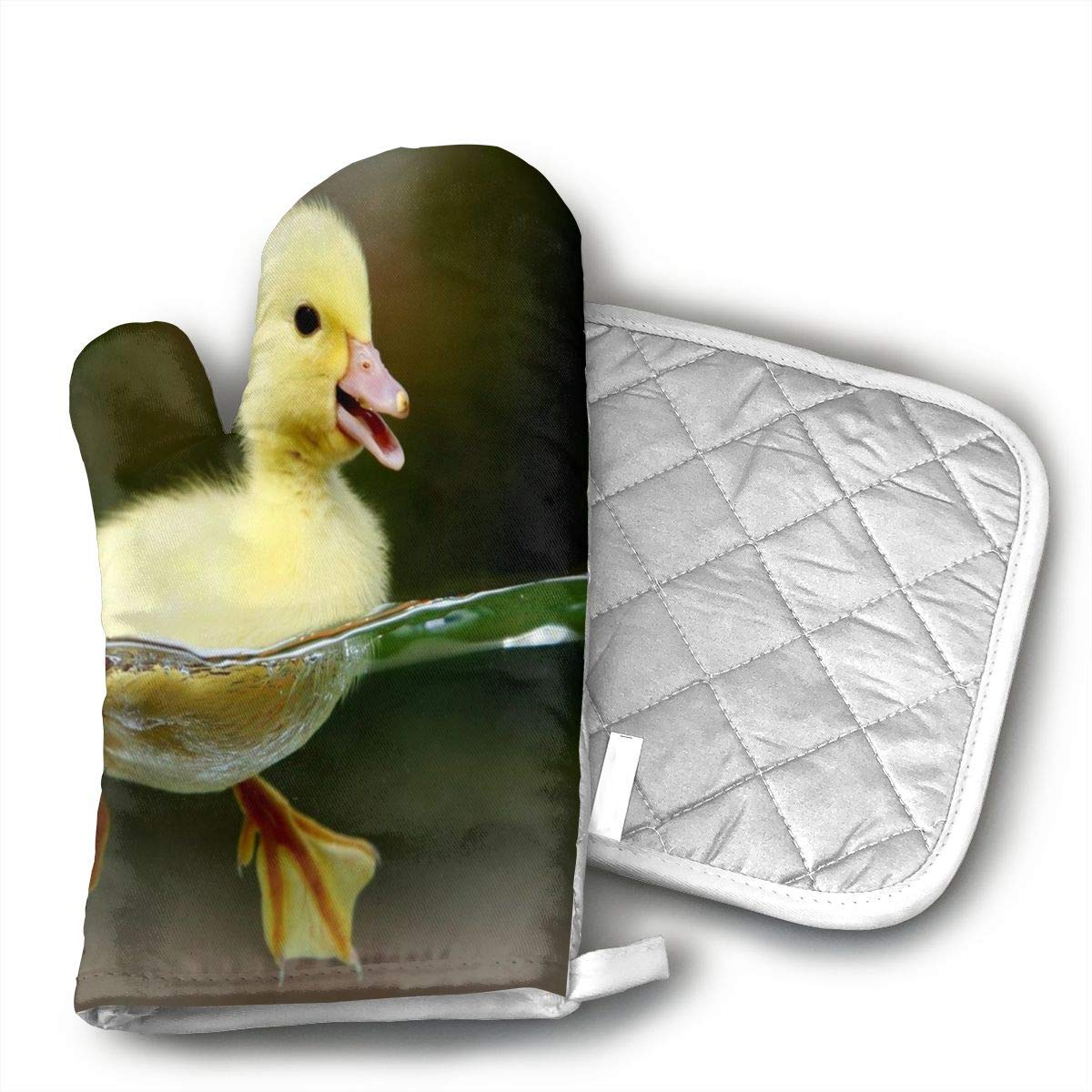 HAIQLK Animals Yellow Baby Duck Oven Mitts, with The Heat Resistance of Silicone and Flexibility of Cotton, Recycled Cotton Infill, Terrycloth Lining,