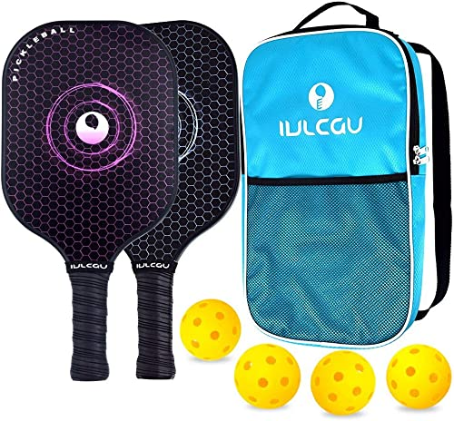 Cyrus Graphite Pickleball Paddle Set of 2, Lightweight Carbon Fiber Face Honeycomb Composite Core Paddles Sets of 2 Including Racket Bag and 4 Balls, USAPA Approved