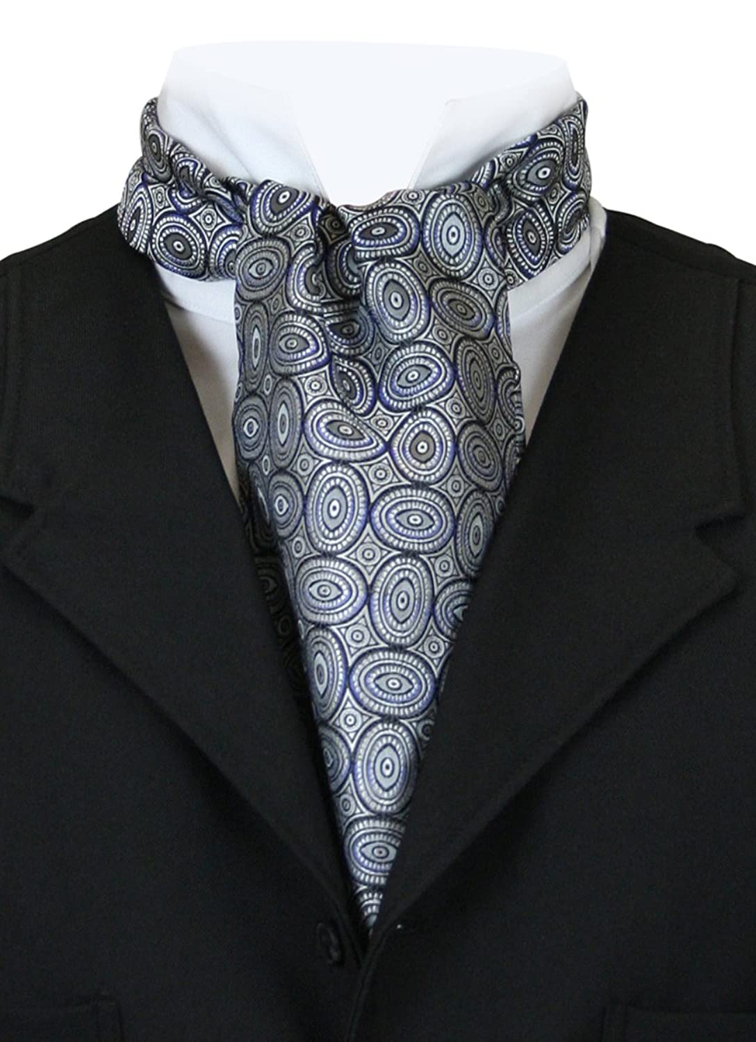 Men's Steampunk Costume Essentials  100% Silk Geometric Ovals Ascot $37.95 AT vintagedancer.com