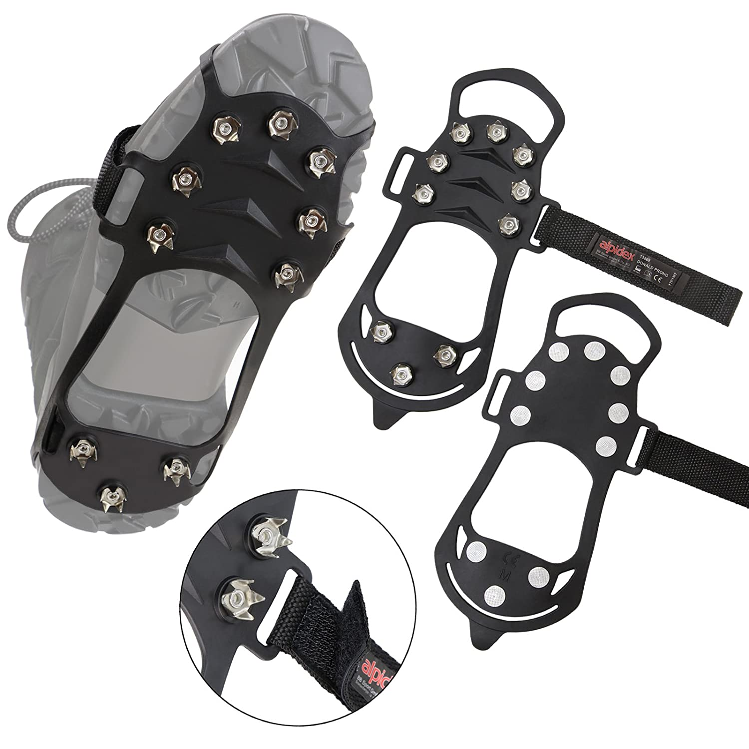 ALPIDEX Anti slip shoe spikes with 10 spikes snow and ice grips in various sizes