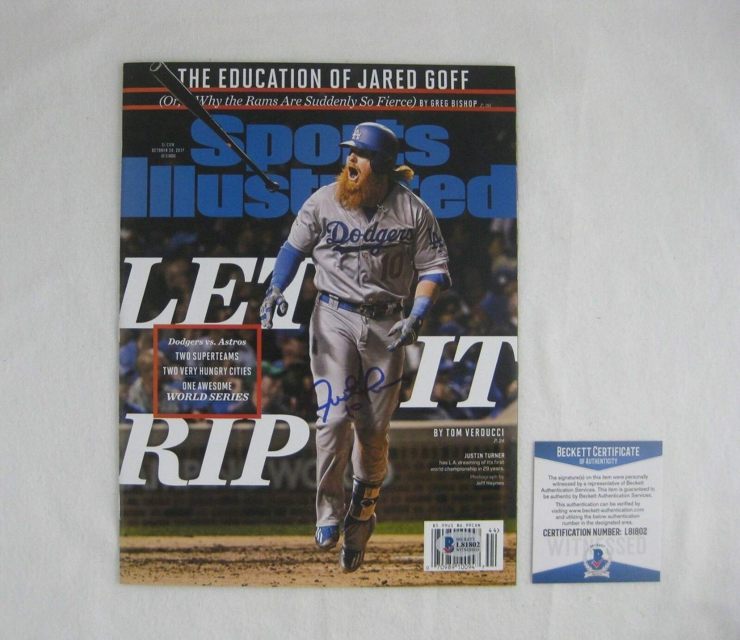 finest selection e418f acaf2 Justin Turner Autographed Signed Sports Illustrated Magazine ...