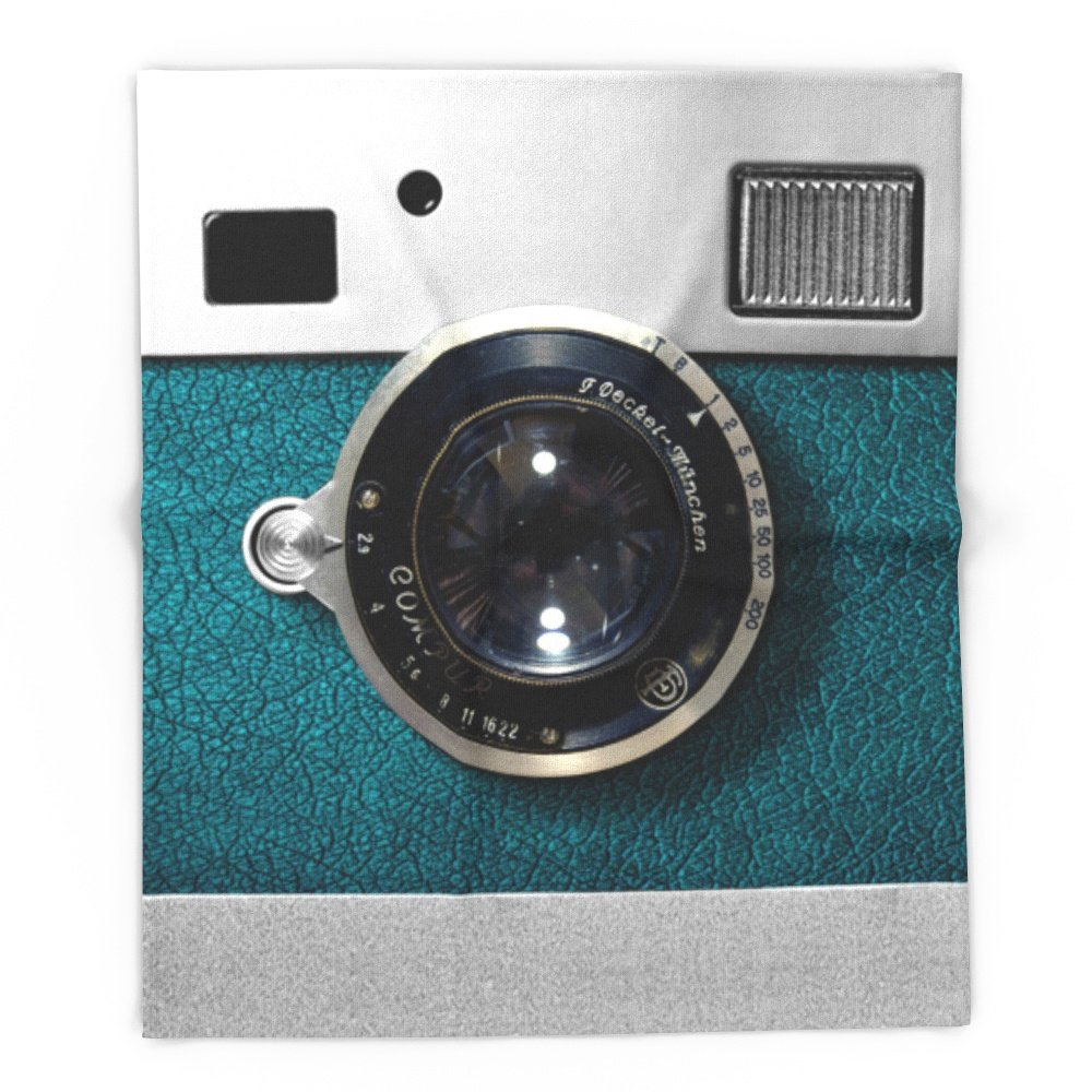 Society6 Classic Retro Blue Teal Leather Silver Germany Vintage Camera IPhone 4 4s 5 5c, Ipod, Ipad Case 88'' x 104'' Blanket