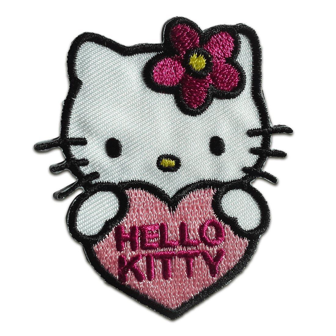 Toppe termoadesive - Hello Kitty con cuore Comic bambini - rosa - 6x5, 4cm - Patch Toppa ricamate Applicazioni Ricamata da cucire adesive catch-the-patch