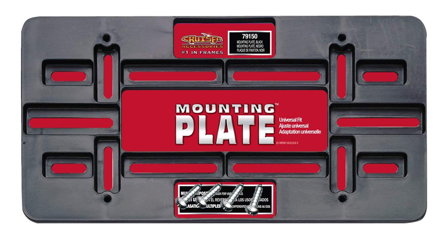 Black Cruiser Accessories 79150 Universal License Plate Mounting Plate