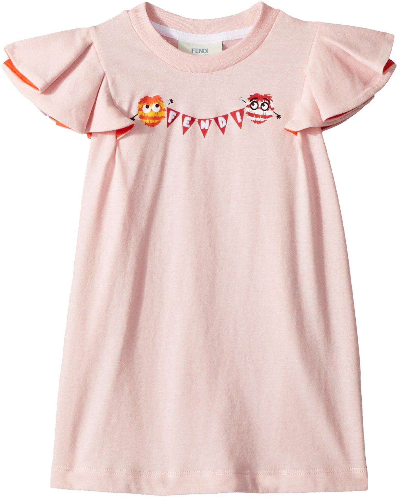 Fendi Kids Baby Girl's Ruffle Sleeve Logo Pom Pom Graphic T-Shirt (Toddler) Pink 3 Years