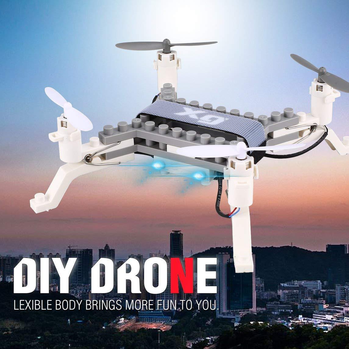 Footprintse dji Phantom 4 Quadcopter;Mini Quadcopter XG171 2.4G RC Bloque DIY DIY Ladrillo Quadcopter Drone con Altitude Hold 3D Flips-Color: Blanco