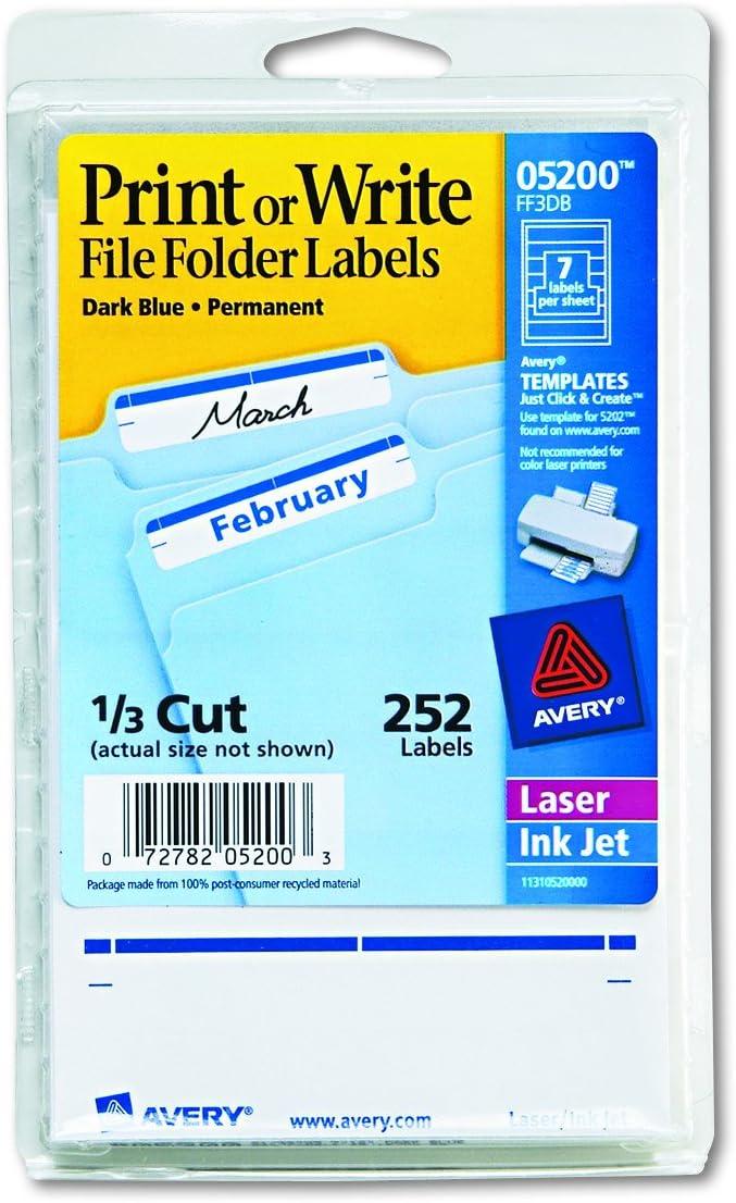 Avery 05200 Print or Write File Folder Labels, 11/16 x 3 7/16, White/Dark Blue Bar (Pack of 252)