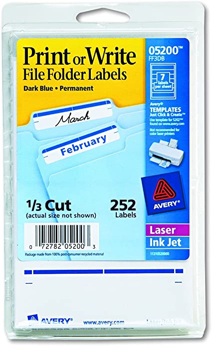 Avery Print Or Write File Folder Labels 11//16 X 3 7//16 White//yellow Bar 252//pack