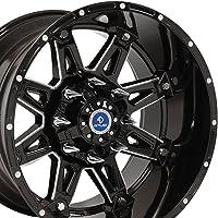 20x12 Wheel Fits 8 Lug GMC Chevy Trucks & SUVs - Black Rim w/Mach'd Face - Sinister 4Play Wheel