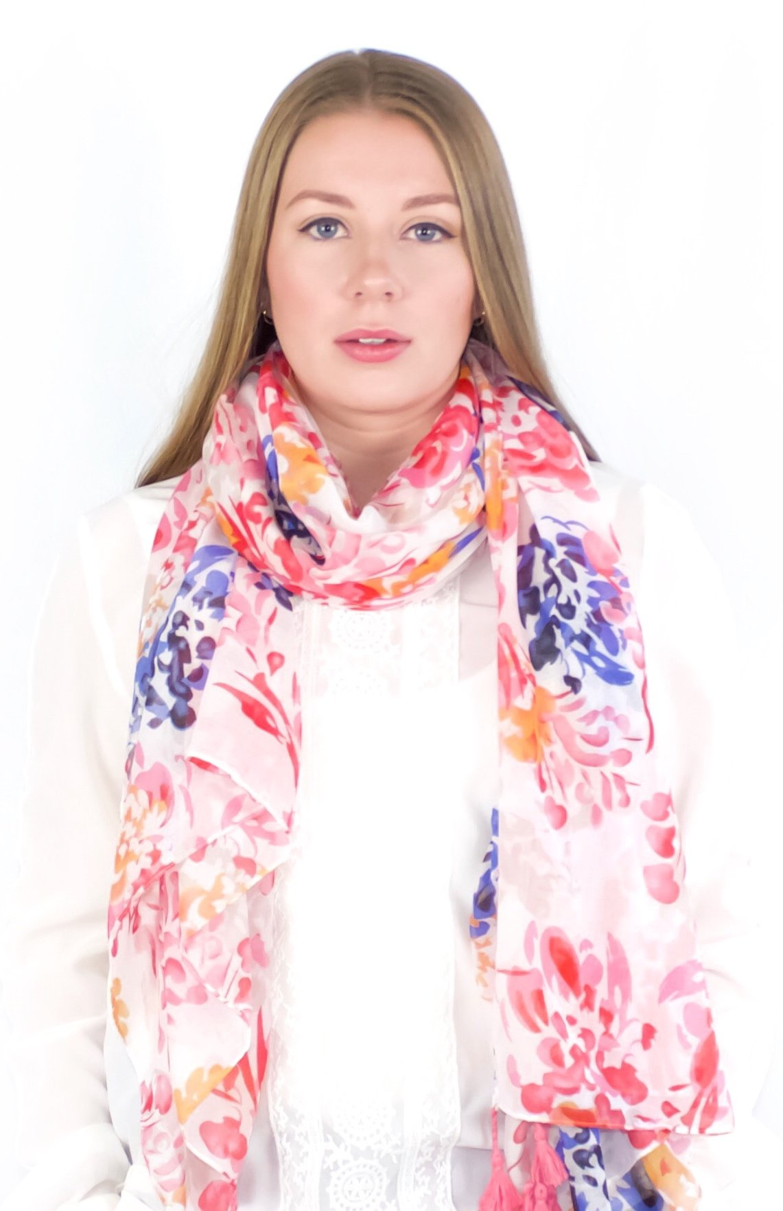 ÉCHARPE Women's Soft Scarf/Hijab with Tassels - Spring Pink