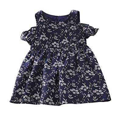 UK Toddler Kids Baby Girls Floral Clothes Ruffle Short Dress Tutu Skirt Sundress