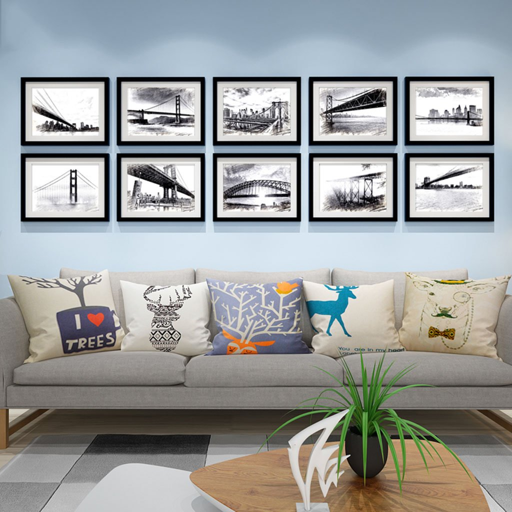 Home@Wall photo frame Photo Gallery Frame Sets Of Wall Fashion Home Decoration With Usable Artwork And Family, Sets Of 10 ( Color : C )