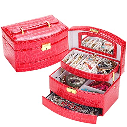 Oyería De Viaje De Cuero De Imitación Organizador Exhibición Caja De Almacenamiento Y Cajas De Joyería