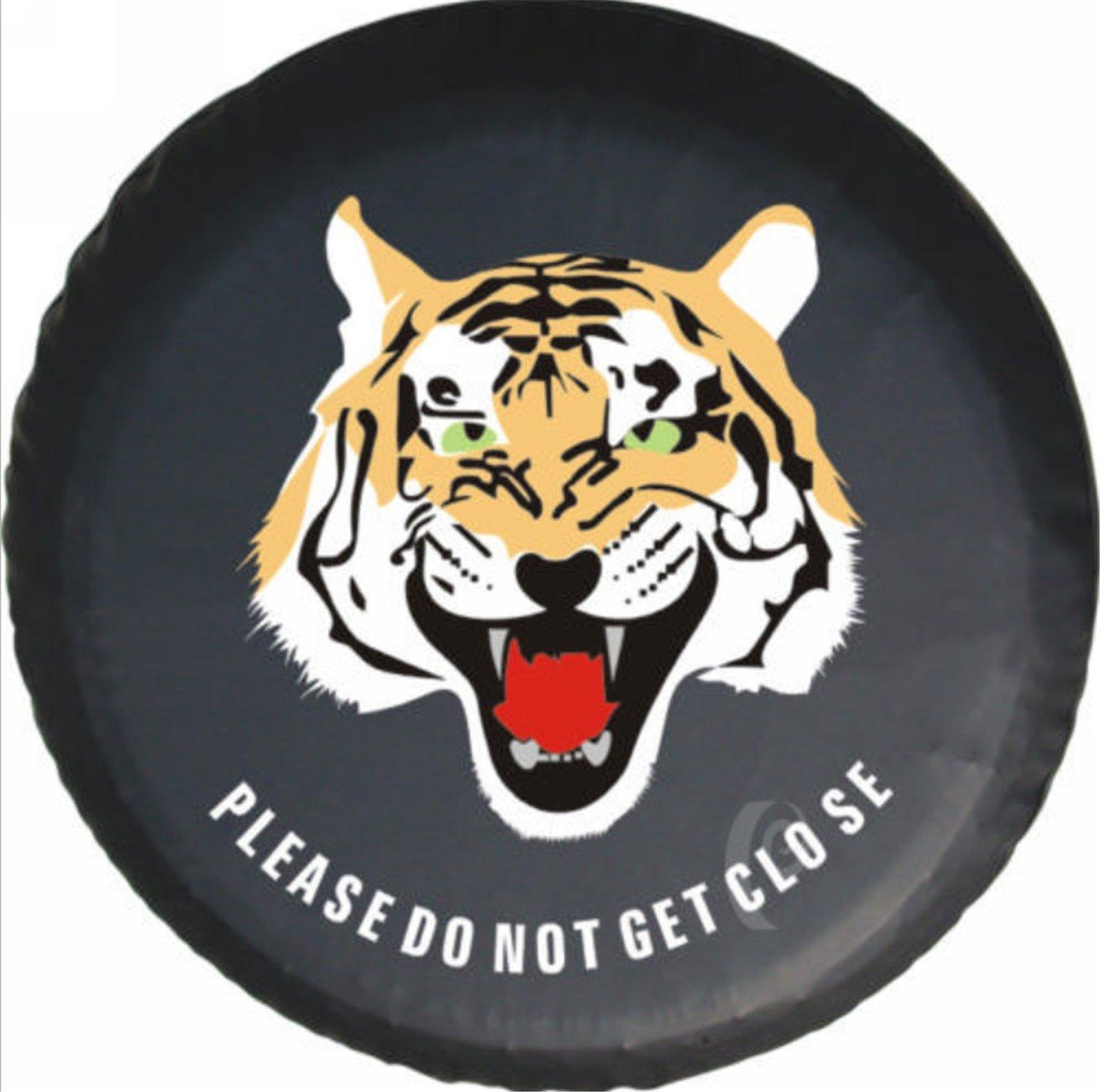 Housse de pneus Housses de Roue de Secours Tiger Animal PU Cuir Protecteur (diamè tre de 77cm) Dent-de-lion
