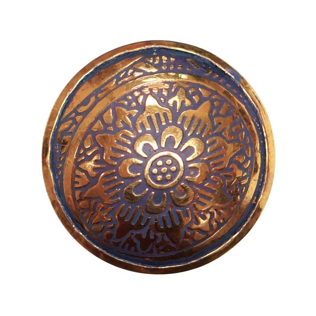 NACH pc-7002 Engraved Brass Door Knob Yellow Set of 8 8 Piece
