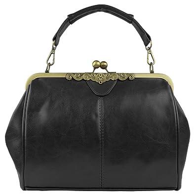8ce722e3749e Amazon.com  Micom New Small Retro Vintage Kiss Lock Imitation Leather Purse  Handbag Totes Bag for Women