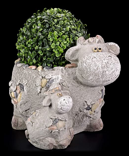 Vaca Jardín Figura como maceta en piedra – decoración jardín Figura: Amazon.es: Jardín