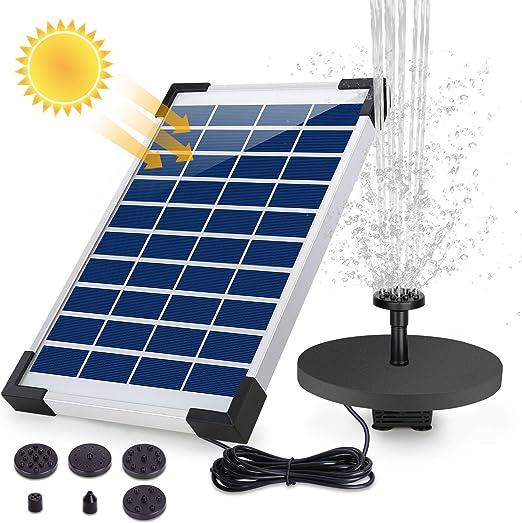 AISITIN Fuente Solar Bomba, 5.5W Fuente de Jardín Solar, Batería Incorporada, Caudal 500 L/H, con 6 Boquillas y Tabla Flotante para Pequeño Estanque, Baño de Aves, Fish Tank y Decoración del Jardín: