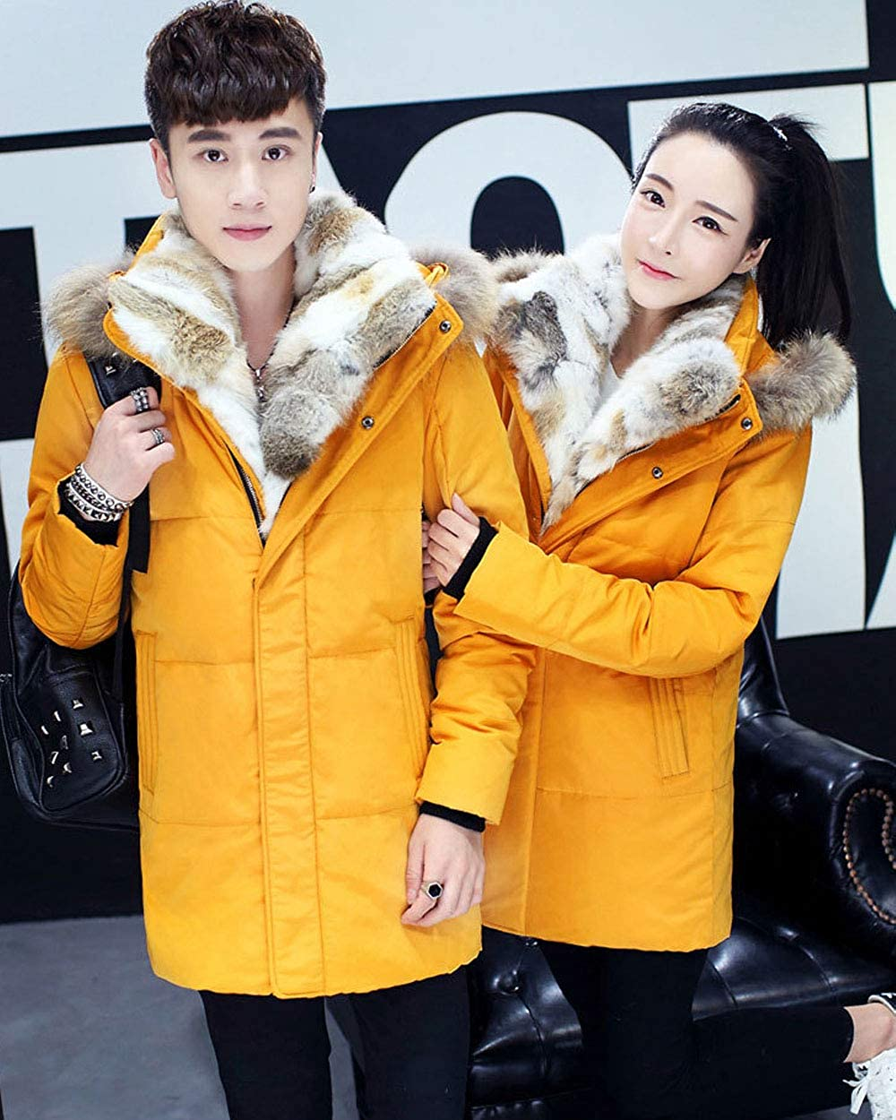Aishang Unisex Couple His and Her Shearling Lined Down-Filled Coat with Fur Hood