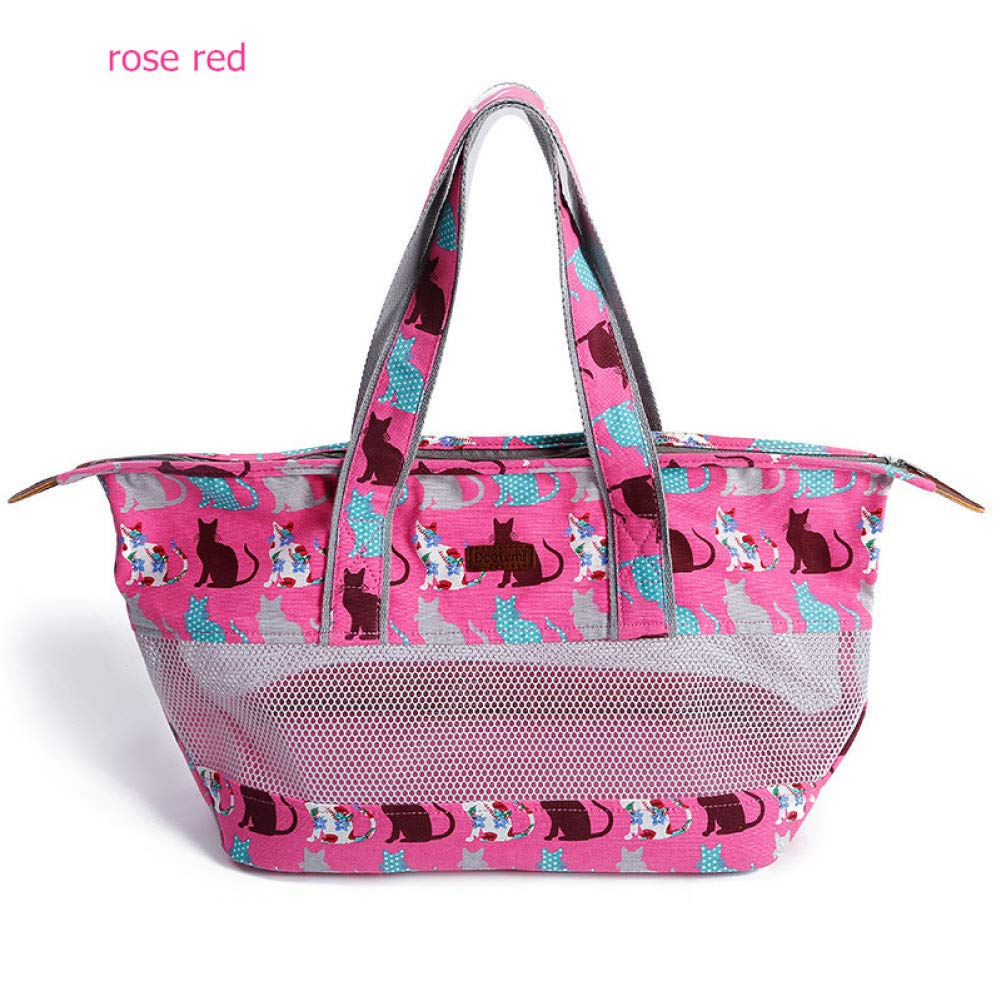 pink red 63x18x48cm pink red 63x18x48cm ZIOFV Package Pet Patterned Cat Carrier Travel Bag Soft Canvas Design Mesh Pet Carrier for Pet Cats Small Dogs Pet Supplies
