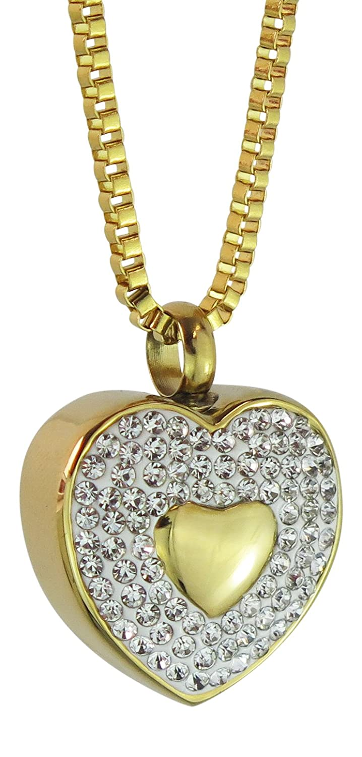 golden Crystal Heart Urn Pendant Necklace gold Plated Cremation Jewellery Ash Memorial-Engraving