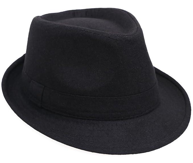 2a61d3953b6 Men   Women s Classic Short Brim Gangster Manhattan Trilby Fedora Hat
