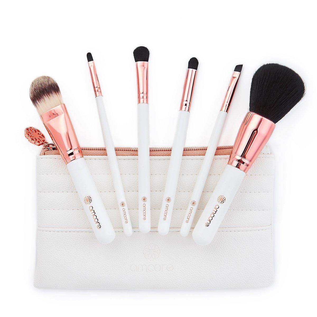 amoore 6 pcs Brochas de Maquillaje para Base Colorete Sombra de Ojos Cejas Pestaña y Labios (6 Pcs, Blanco) W6-01