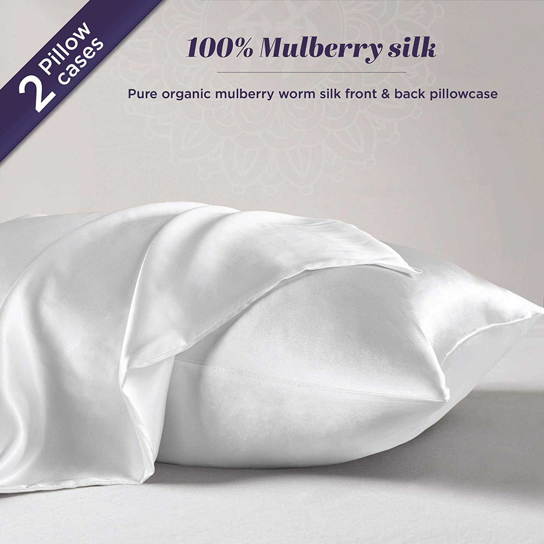 Silk Pillowcase for Hair and Skin – 100% Organic Pure Mulberry Worm Silk – Hidden Zipper – Premium, Soft, Allergen Resistant - Luxurious 25 Momme Silk 2 Pack Queen 20x30 Natural White