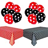 TONIFUL Polka Dot Party Decorations Kit with 2 Pack Red & Black Polka Dot Plastic Tablecloth and 12 Pcs Red &Black Polka…