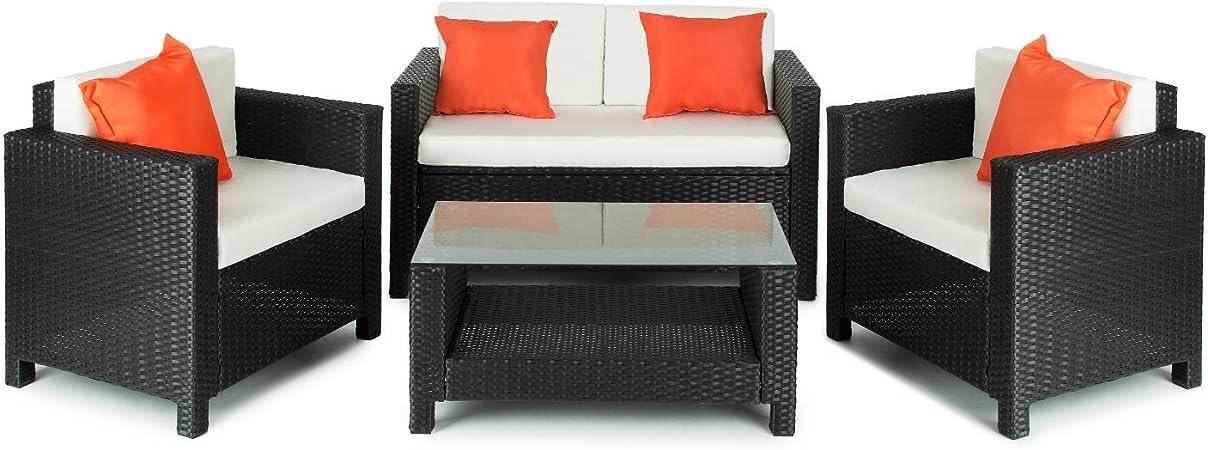 blumfeldt Verona Juego de Muebles para jardín 4 Piezas Mimbre Negro/Beige/Naranja (Conjunto butacas y Mesa Exterior, Resistente Intemperie/Rayos UV, Compartimento almacenaje bajo Sofa): Amazon.es: Hogar