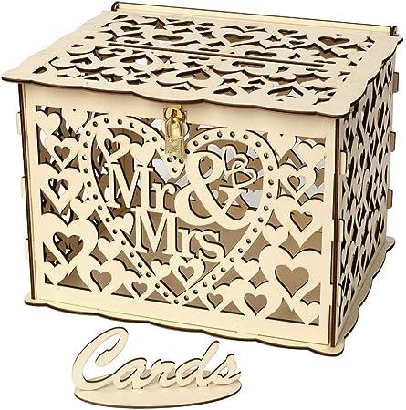 PRETYZOOM Tarjetas de regalo para boda, caja de dinero con candado Mr Mrs, velas decorativas de