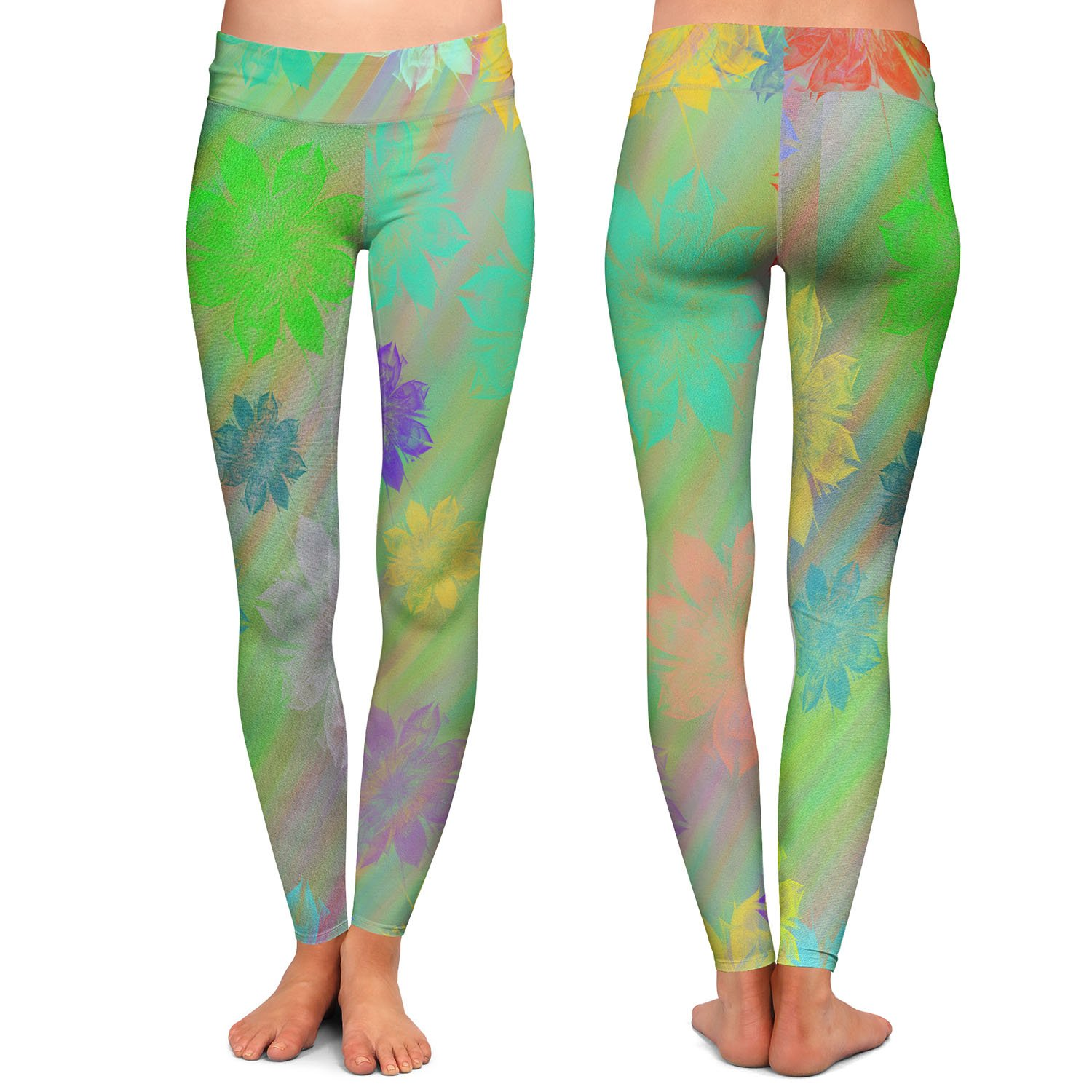 Spring Shower Athletic Yoga Leggings from DiaNoche Designs by Pam Amos