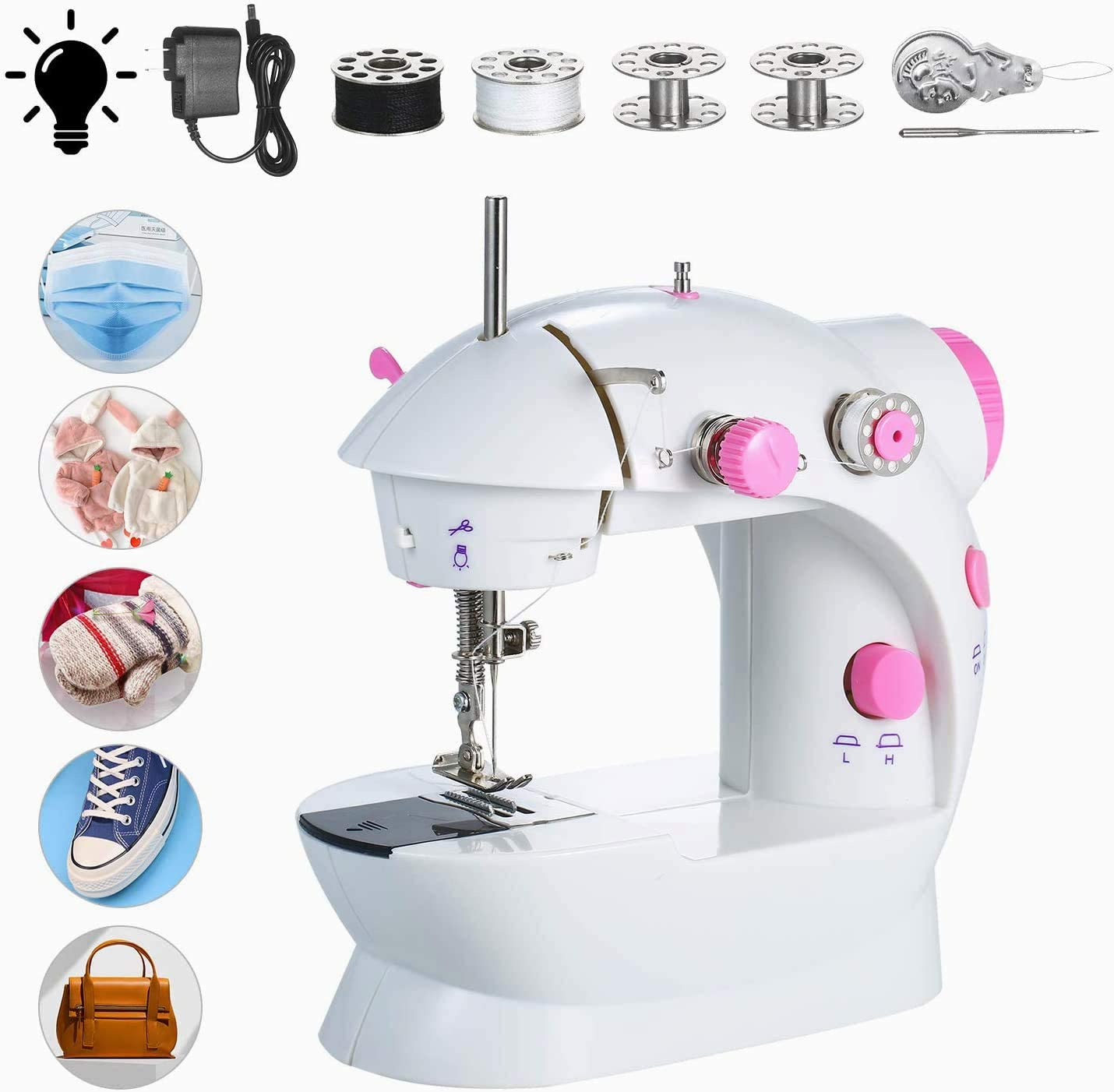 for Household Beginner DIY Project Portable Handheld Sewing Machines Double Thread Portable Electric Household Multifunctional Clothes Fabrics Electric Sewing Machine htovila Mini Sewing Machine
