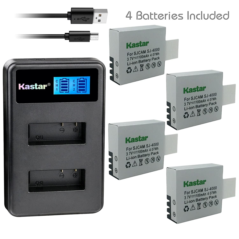 KastarバッテリーLCDデュアルUSB充電器for lcd2-sj4000 – 4 sj4000 4 Batteries + 1 Charger  B07CQS33SN