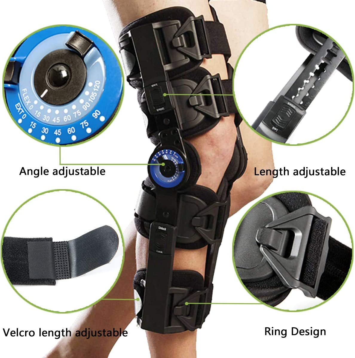 MCL and PCL Injury After Surgery ACL Universal Adjustable ROM Leg Stabilizer for Recovery Stabilization Orthomen Hinged Post Op Knee Brace One Size
