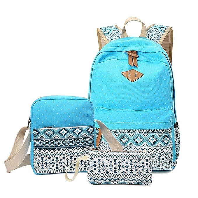 Minetom Mujer Lona Backpack Tipo Casual Mochila Escolar Cartera Del Bolso La 3Pcs Azul Claro: Amazon.es: Ropa y accesorios