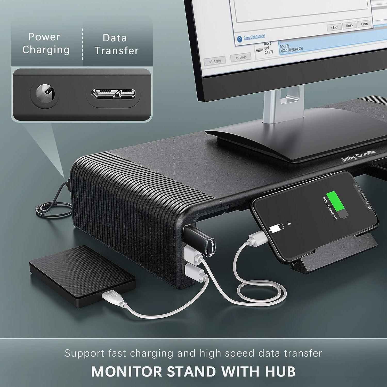 Jelly Comb Soporte de monitor plegable con concentrador, Elevador pantalla longitud Ajustable con 2 puertos USB 3.0 y carga USB C, adaptador de 24 W para PC, Smartphone, tableta, TV, negro: Amazon.es: Electrónica