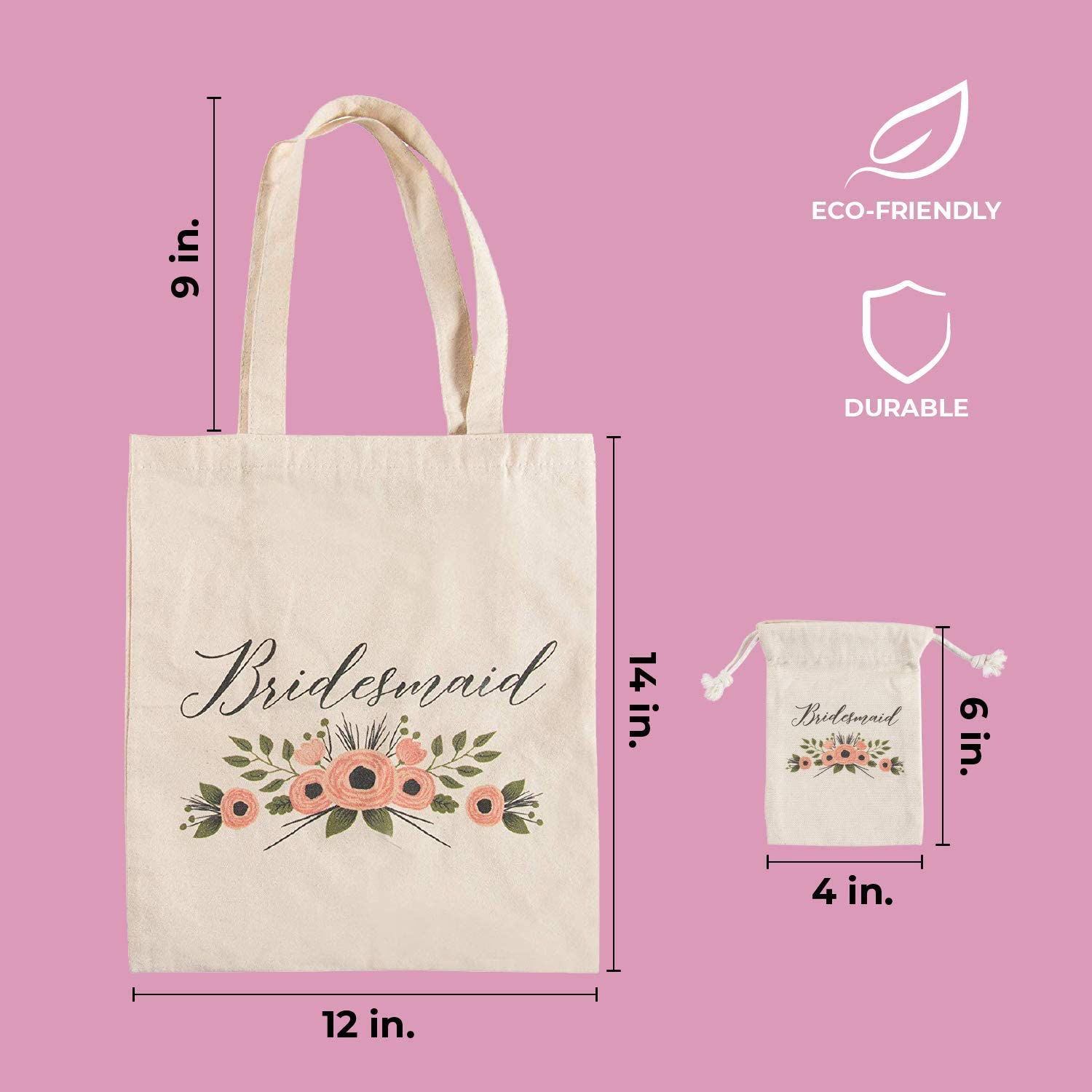 1 Cotton Canvas Tote Bag and 1 Drawstring Pouch for MOH Gift Bags for Bridal Party Rustic Floral Design Bridal Shower Favors Maid of Honor Gift Set
