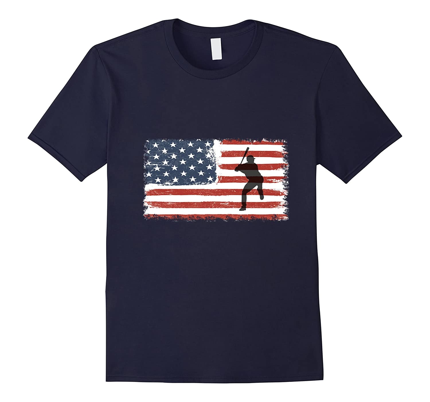 Baseball T-Shirt American Flag - Great For Fourth Of July-PL