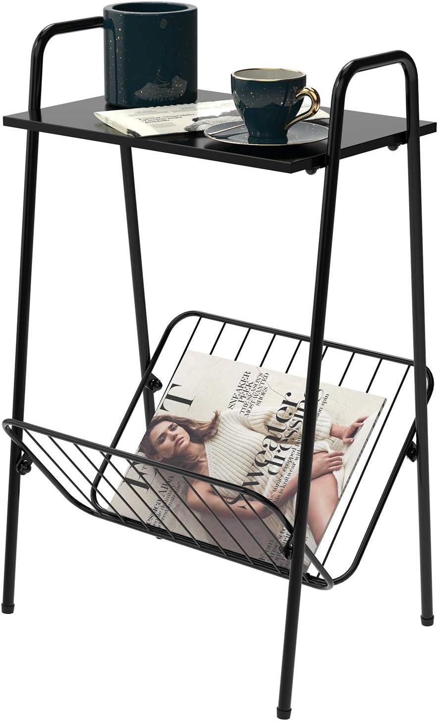 End Tables for Living Room Tables Side Tables Bedroom Nightstand Corner Shelves,with Magazine Rack,Metal Black