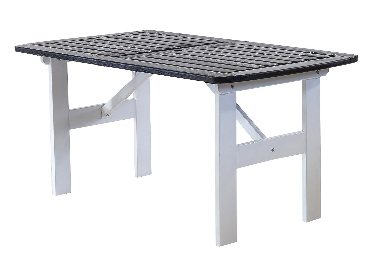 Ambientehome 90342 Gartentisch Esstisch Holztisch Massivholz Hanko Maxi, 140 x 80 cm, weiß / grau