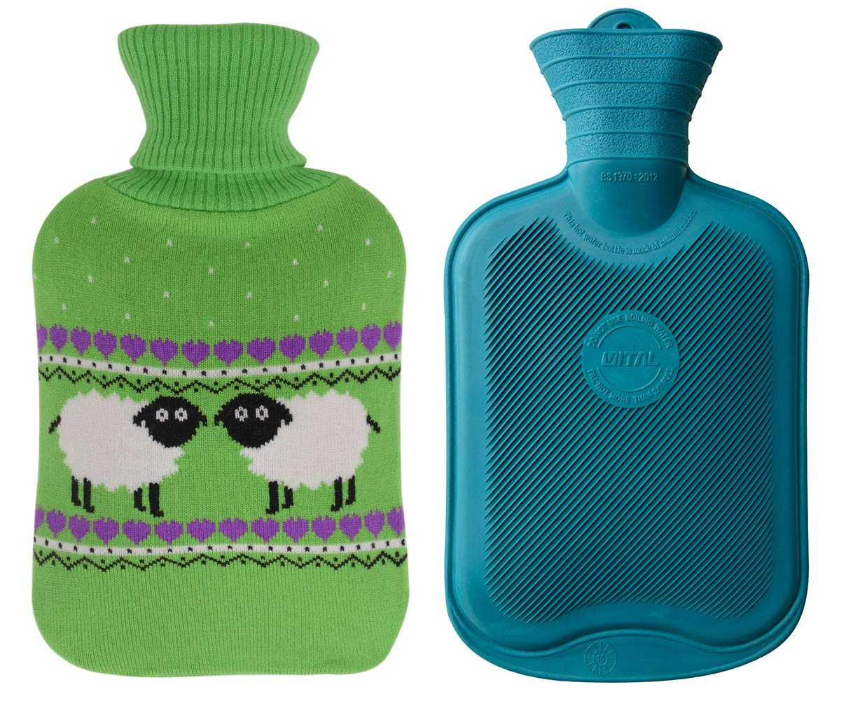 Premium Classic Rubber Hot Water Bottle and Cute Animal Embroidery Knit Cover (2L, Jasper/Green with Sheep)