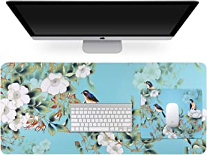 Multifunctional PU Leather Office Desk Pad (35.4''X15.7'') +Rubber Mouse Pad (10.2''×8.3''×0.12''), with Floral Design Extended Large Non Slip Ultra Thin Waterproof Desk Writing Mat (Withe Flower)
