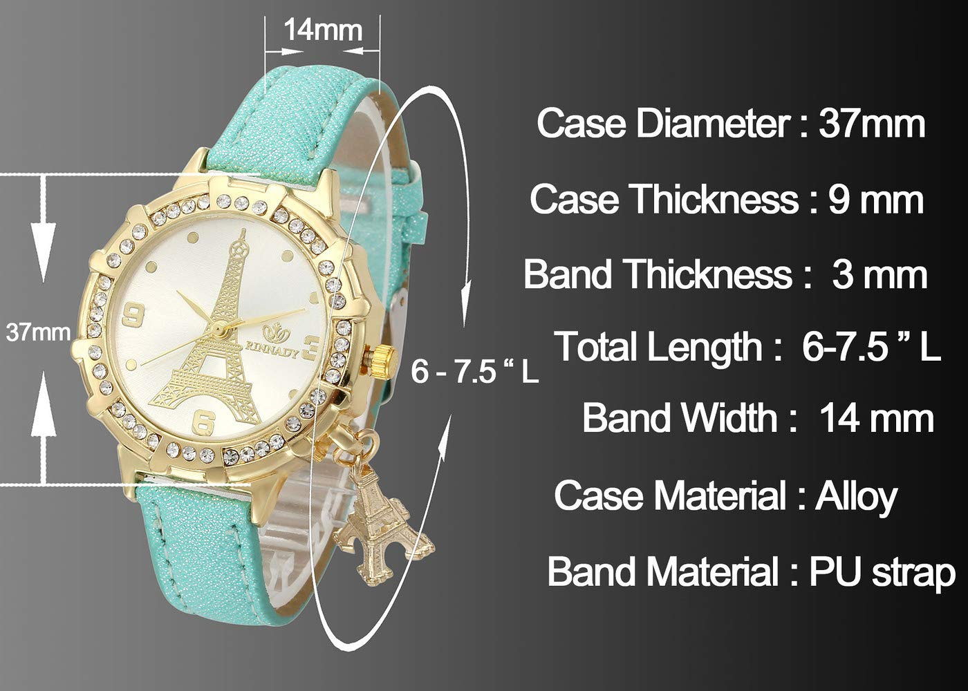 Top Plaza Womens Ladies Fashion Casual Leather Analog Quartz Wrist Watch Unique Tower Pattern Rhinestones Golen Case Dress Watches with Small Tower Charm(White)