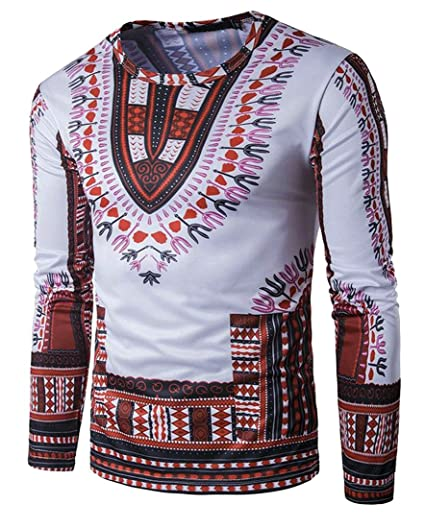 cf76f6ed0f62e3 Image Unavailable. Image not available for. Color  Pivaconis Mens Tribal  Dashiki African Print Ethnic Style Long Sleeve Top T-Shirt ...