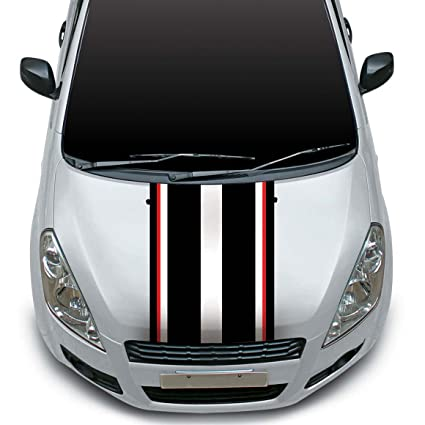 Autographix Racing Stripes Car Bonnet Wrap Graphics Small - Graphics for car bonnets