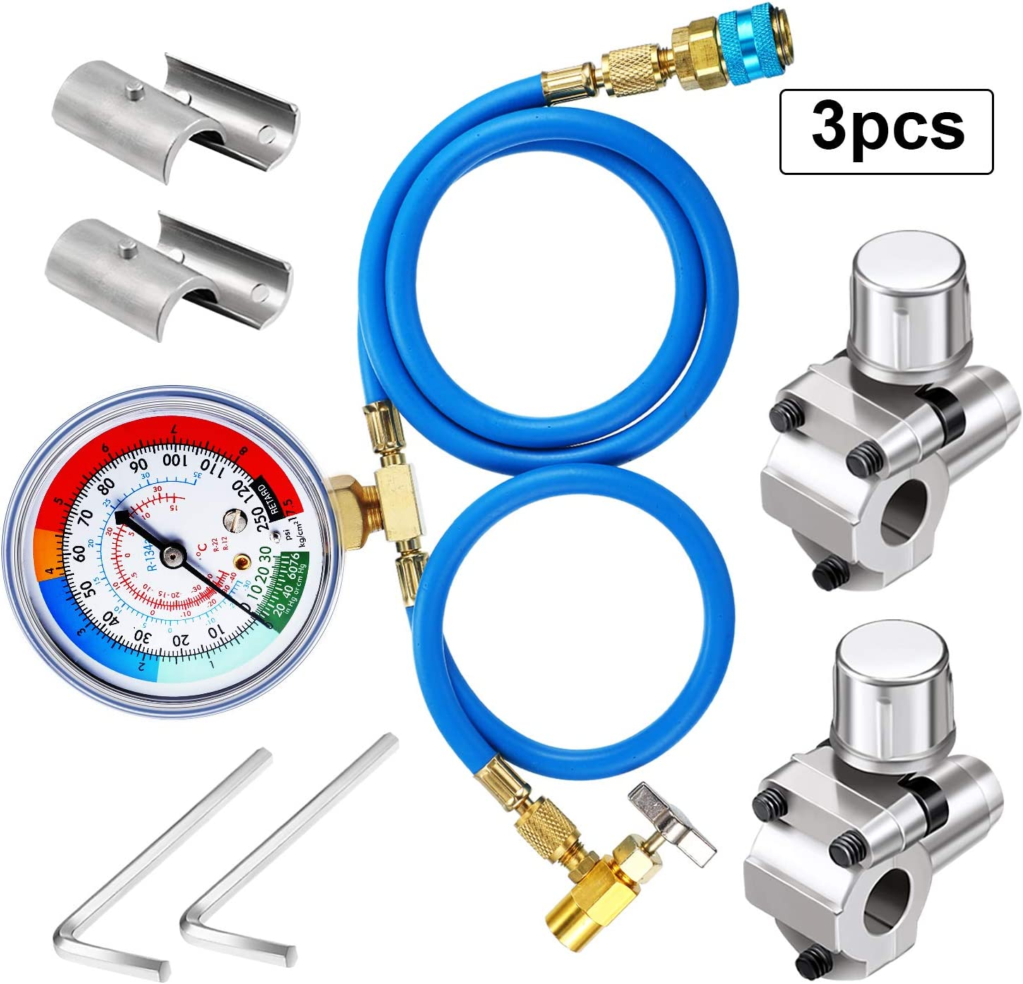 3 Pieces Set A/C R134A Refrigerant Charging Hose R134A Charging Hose Quick Couple, 1/2 in Male 1/4 in SAE Female Can Tap Valve, BPV31 Bullet Piercing Tap Valve Compatible with GPV14 GPV31 GPV38 GPV56
