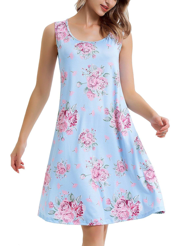 bluee Pink Flower Perfashion Women's Sleeveless Floral Printed Swing Midi Tank Dress Sundress with Pockets